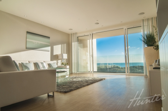Interiors of exclusive development featuring spectacular lounge with sea views